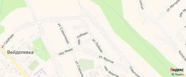 Улица Победы на карте поселка Вейделевки с номерами домов