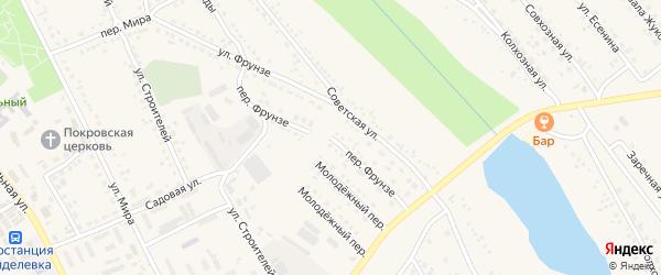 Переулок Фрунзе на карте поселка Вейделевки с номерами домов
