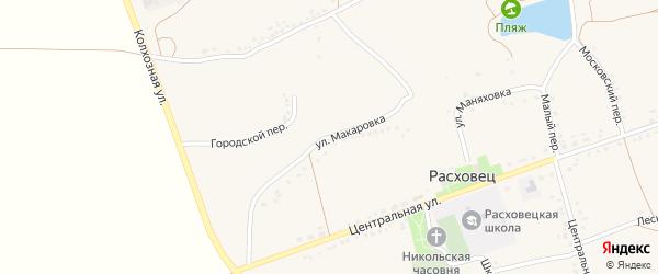 Улица Макаровка на карте села Расховца с номерами домов