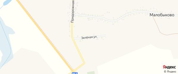Зеленая улица на карте села Малобыково с номерами домов