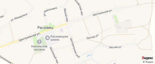 Центральная улица на карте села Расховца с номерами домов