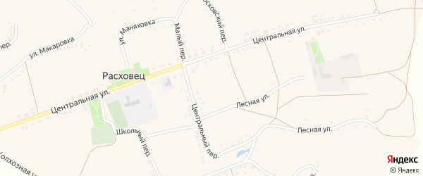 Московский переулок на карте села Расховца с номерами домов