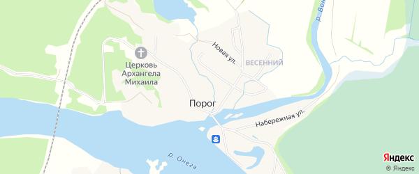 Карта села Порога в Архангельской области с улицами и номерами домов