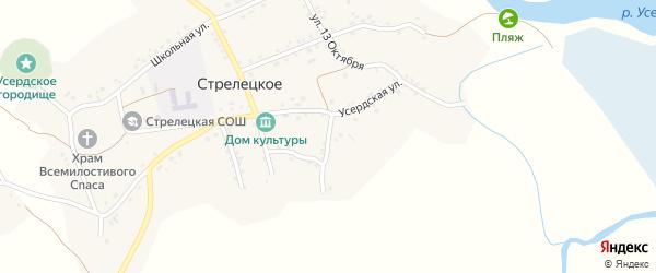 Усердская улица на карте Стрелецкого села с номерами домов