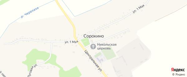Луговой переулок на карте села Сорокино с номерами домов