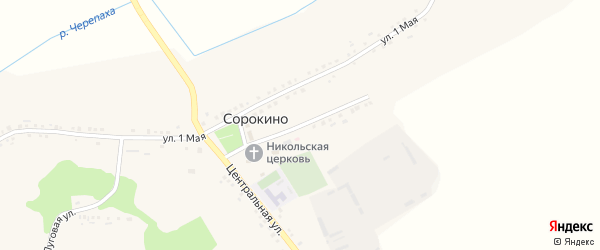 Первомайский переулок на карте села Сорокино с номерами домов