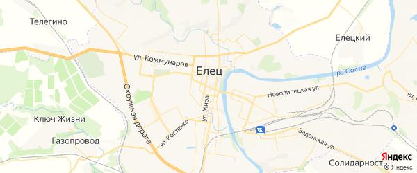 Карта Ельца с районами, улицами и номерами домов