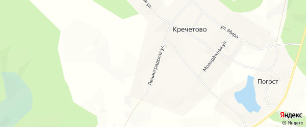 Карта деревни Кречетово в Архангельской области с улицами и номерами домов