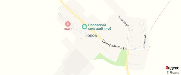 Центральная улица на карте хутора Попова с номерами домов