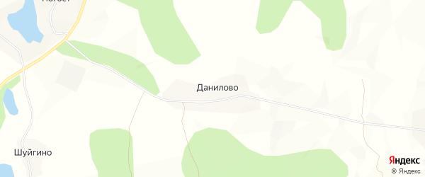 Карта деревни Данилово в Архангельской области с улицами и номерами домов