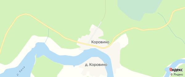Карта деревни Коровино в Архангельской области с улицами и номерами домов