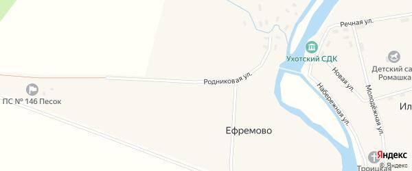 Родниковая улица на карте деревни Тоболкино с номерами домов