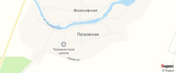 Карта Патровской деревни в Архангельской области с улицами и номерами домов
