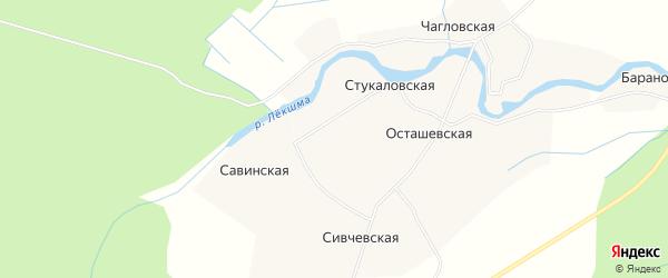 Карта деревни Савинская (Приозерное мо) в Архангельской области с улицами и номерами домов