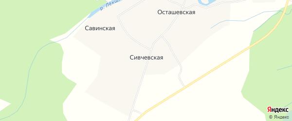 Карта Сивчевской деревни в Архангельской области с улицами и номерами домов