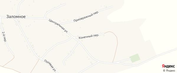 Конечный переулок на карте Заломного села с номерами домов