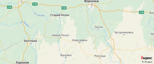 Карта Красненского района Белгородской области с населенными пунктами и городами