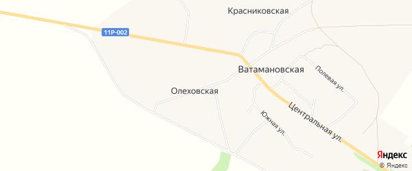 Карта Олеховской деревни в Архангельской области с улицами и номерами домов