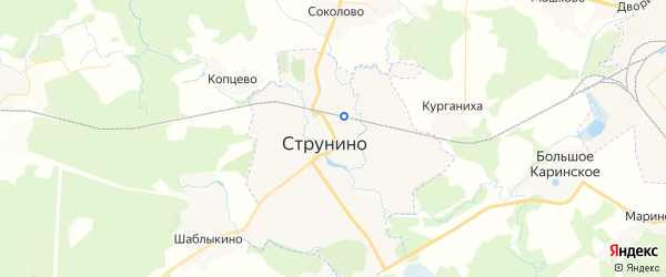 Карта Струнино с районами, улицами и номерами домов: Струнино на карте России