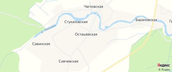 Карта деревни Осташевская (Ухотское мо) в Архангельской области с улицами и номерами домов