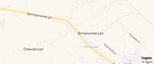 Центральная улица на карте Ватамановской деревни с номерами домов