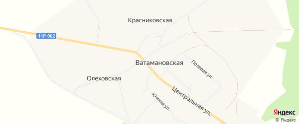 Карта Ватамановской деревни в Архангельской области с улицами и номерами домов