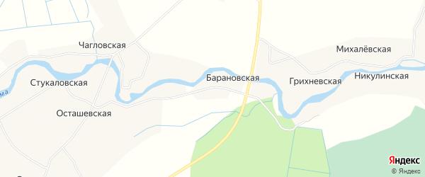 Карта деревни Барановская (Приозерное мо) в Архангельской области с улицами и номерами домов