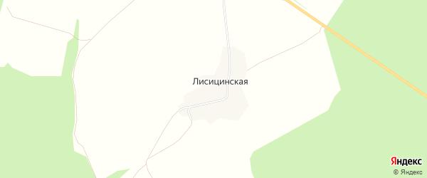 Карта Лисицинской деревни в Архангельской области с улицами и номерами домов