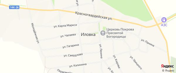 Карта села Иловки в Белгородской области с улицами и номерами домов