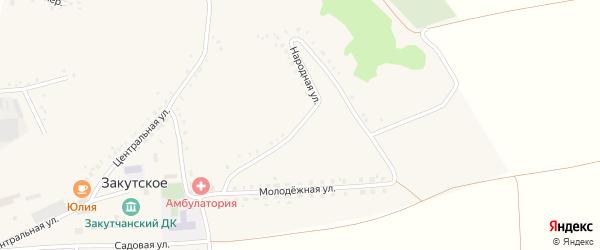 Народная улица на карте Закутского села с номерами домов