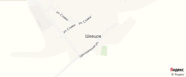 Центральная улица на карте хутора Шевцова с номерами домов