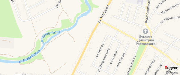Переулок 1-й Чапаева на карте Алексеевки с номерами домов
