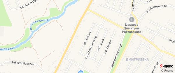 Улица Чехова на карте Алексеевки с номерами домов