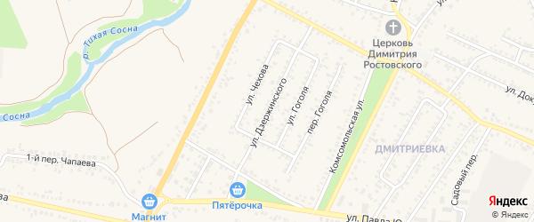 Улица Дзержинского на карте Алексеевки с номерами домов