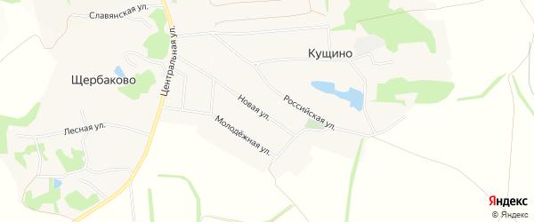 Карта села Кущино в Белгородской области с улицами и номерами домов