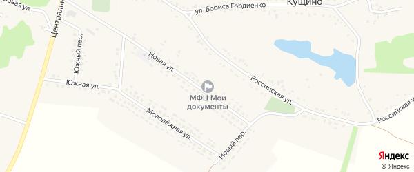 Новый переулок на карте села Кущино с номерами домов