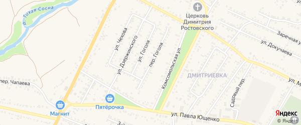 Переулок Гоголя на карте Алексеевки с номерами домов