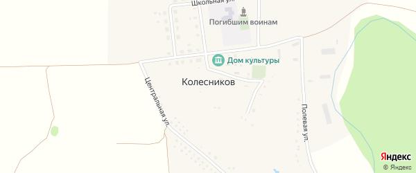 Школьный переулок на карте хутора Колесникова с номерами домов