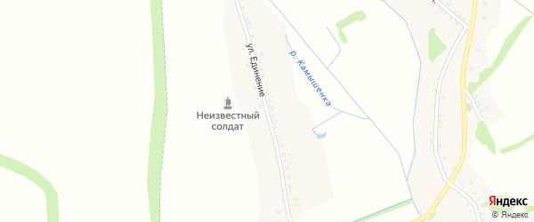 Улица Единение на карте села Готовьего с номерами домов