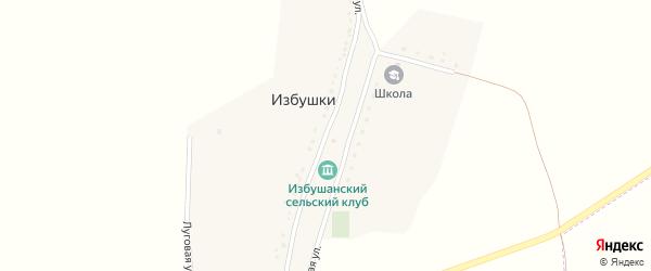 Центральная улица на карте хутора Избушки с номерами домов