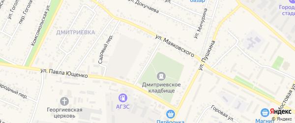 Железнодорожный переулок на карте Алексеевки с номерами домов