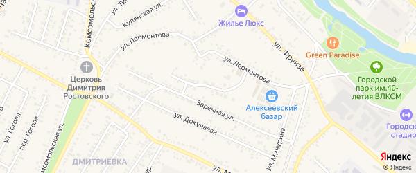 Заречный переулок на карте Алексеевки с номерами домов