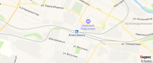 Карта поселка Ольминского города Алексеевки в Белгородской области с улицами и номерами домов