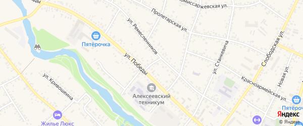 Переулок Победы на карте Алексеевки с номерами домов