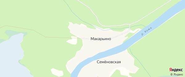 Карта деревни Макарьино в Архангельской области с улицами и номерами домов