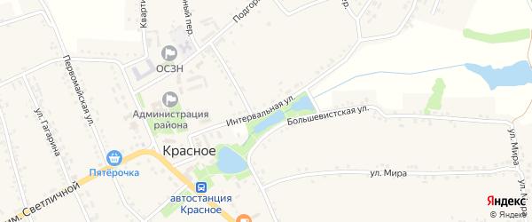 Интервальная улица на карте Красного села с номерами домов
