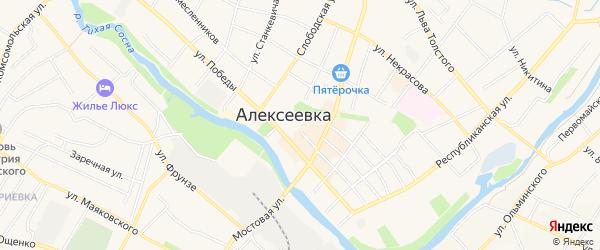 Карта станции 70 км города Алексеевки в Белгородской области с улицами и номерами домов