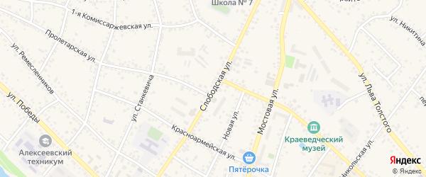 Слободская улица на карте Алексеевки с номерами домов