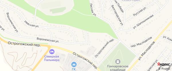 Воронежский тупик на карте Алексеевки с номерами домов