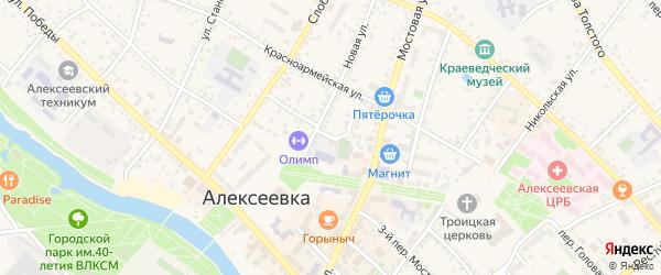 Новый переулок на карте Алексеевки с номерами домов